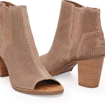 STUCCO SUEDE PERFORATED WOMEN'S MAJORCA PEEP TOE BOOTIES