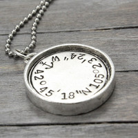 Pewter Anchor Necklace, Coordinate Necklace, Hand Stamped Jewelry, Personalized Necklace, Latitude Longitude,