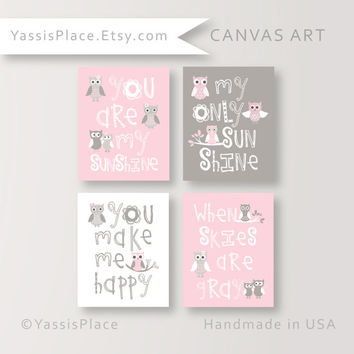 Owl Nursery CANVAS Art, Baby Girl Nursery, You Are My Sunshine Canvas Print, Pink Gray Owl decor, Owl baby shower, Owl nursery, YassisPlace