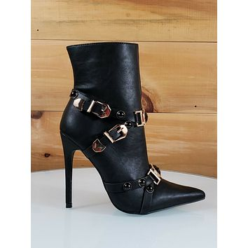 Mac J  Black Pointy Toe Gold Buckle Harness Strap High Heel Ankle Boot 7- 10