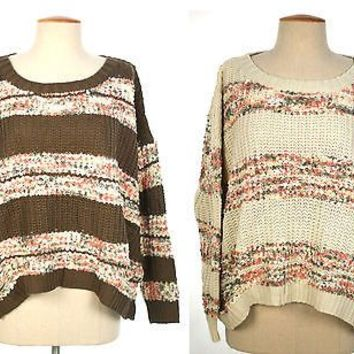 Round Neck Embroidered Floral Stripe LOOSE SWEATER Long Sleeve Top Knit Outwear