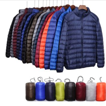 Fashion Mens Lightweight Puffer Duck Down Parka Jacket Plus Size