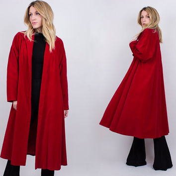 vintage 60s red velvet swing coat long duster jacket opera hippie retro