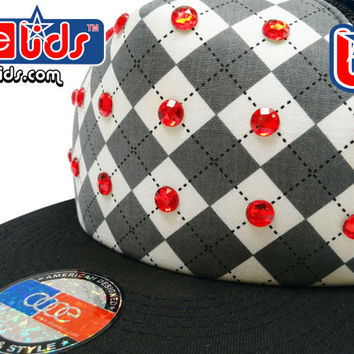 "Clearance! smART-patches ""Bling Doubt"" Flat Bill Rhinestone Embellished Trucker Hip Hop DJ Hat"