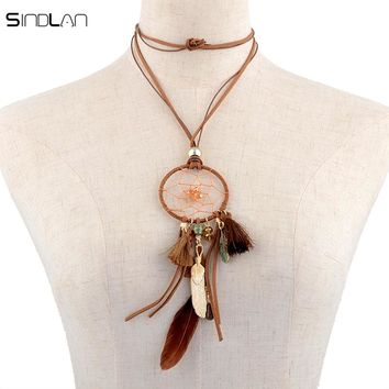 Bohemian Hand-woven Long Chain Tassel Feather Crystal Bead Velvet Dreamcatcher Necklace