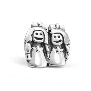 BFF Best Friends Sisters Charm Bead Sterling Silver European Bracelet