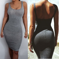 Sexy Women Gray Sleeveless Fashion Bodycon Short/Mini Dress Evening Party Cocktail = 5738807681