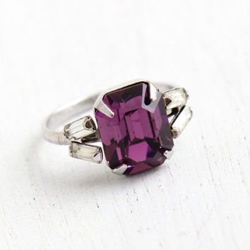 Vintage Sterling Silver Amethyst Purple Rhinestone Ring - 1940s Size 4 1/2 Art Deco Emerald Cut Stone & Clear Baguette Jewelry
