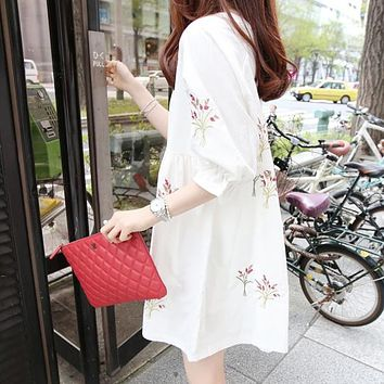 Long Sleeve Cotton & Linen Embroidered Maternity Dress