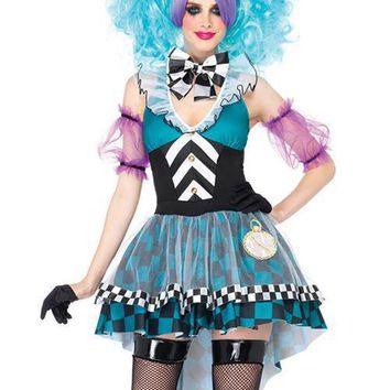 Colorful Sleeveless Checkerboard Pattern Dress Mad Hatter Costume