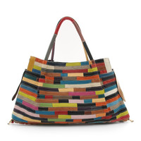 Chancebanda Rainbow Brick Leather Satchel | zulily