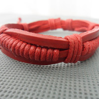 Adjustable red leather Cotton Rope Woven Bracelets by sevenvsxiao