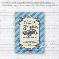 race car baby shower , vintage car baby shower invitation, kids birthday invitation, boy birthday any age 1st 2nd 3rd 4th 5th  - card 139