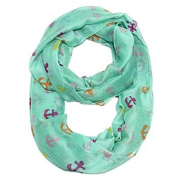 Anchor Confetti Infinity Scarf in Mint