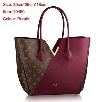 LV Hot Shoulder Bag Dark V Design Bag Wine red