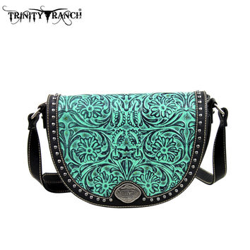 Montana West TR15-L8287 Trinity Ranch Tooled Messenger Bag