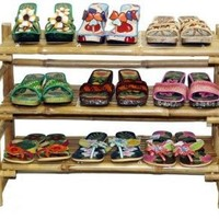 Bamboo 3 Tier Folding Shoe Rack w Natural