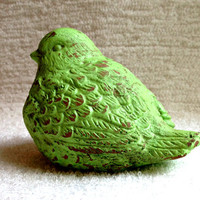 Shabby vintage distressed bird figurine green lime green cottage chic statue knickknack ornament