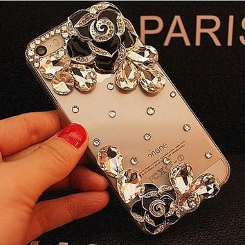 Floral Crystal Clear Phone Case Android for iphone 5 5s 6 6s plus, for galaxy S6 S7 Edge Customize