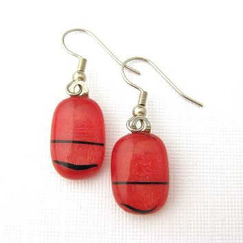 Fused Glass Jewelry Pierced Earrings - Ruby Red by mysassyglass