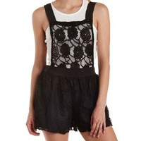 Black Floral Lace Shortalls by Charlotte Russe