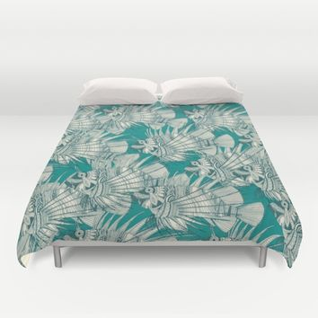 fish mirage teal Duvet Cover by Sharon Turner | Society6