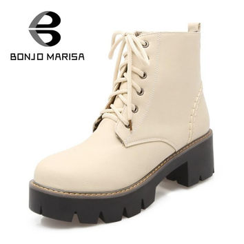 BONJOMARISA Retro Lace Up Add Fur Riding Boots Sexy Solid Ladies Girls Casual Shoes Platform Women Dress Winter Boots Size 34-43