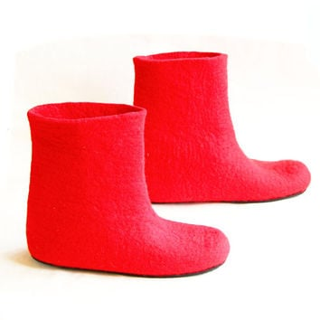 Wool Felted Boots Red with Rubber Sole - Women's Felt Boots All Sizes - 100% Wool Felt Colored Soles Winter Boots Customization Boots