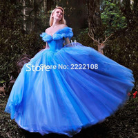 2016 New movie Cinderella Princess Dress Gorgeous Costume cosplay halloween costumes for women Dress High Quality Free Shipping