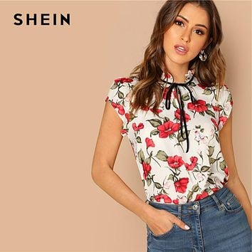 SHEIN Multicolor Tie Neck Ruffle Armhole Floral Top Elegant Stand Collar Cap Sleeve Pullover Women 2018 Autumn Minimalist Blouse