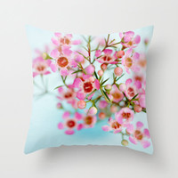 Pastel Blue Pastel Pink Throw Pillow Spring Springtime Decor Whimsical Home Decor, Retro Style Living Room Decor