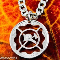 Firefighter Necklace Maltese Cross Firemen Jewelry, Cut Coin Jewelry