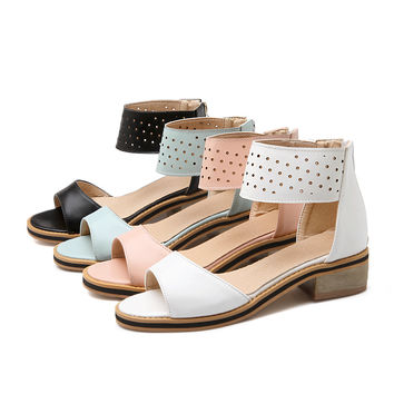 Summer Flats Sandals Pure Color Shoes Woman