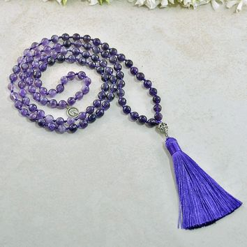 Exalted Awareness Amethyst and Om Mala
