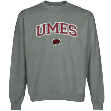 Maryland Eastern Shore Hawks Logo Arch Applique Sweatshirt - Gunmetal