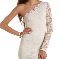 One Shoulder Lace Body-Con Dress: Charlotte Russe