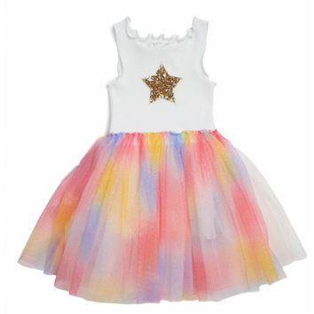 Sparkle Tutu Dress with Star Rainbow by Petite Hailey