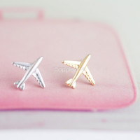 airplane earrings in gold or silver