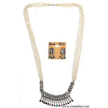 Oxidized arc pendant Pearl stranded Necklace and Earring set