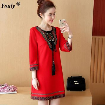 Vintage Embroidery women spring dress 2017 boho Ethnic style loose Tassels Nail bead mini dress Casual Vestidos Plus Size 4XL