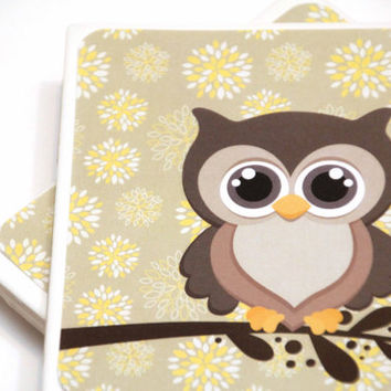Owl Coasters set of 4, owl decor, hootie owl, ready to ship