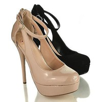 Bevis By Delicious, Almond Toe Cut Out Ankle Strap Platform Stiletto Heel Sandals