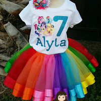 Personalized My little pony  ribbon trimmed tutu set, My little pony tutu, ribbon trim tutu, custom tutu, birthday outfit, MLP party