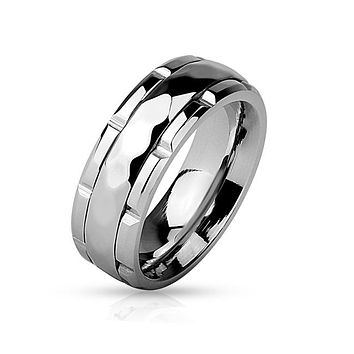 Clear Mind - Diamond Pattern Stainless Steel Meditation Spinner Ring