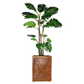 "81"" Monstera Artificial Plant with Burlap Kit in 13"" Bronze Square X Fiberstone Planter"