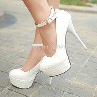 HOT Big size 34-44  new sexy pu leather  shoes women's pumps thick platform high heels wedding shoes