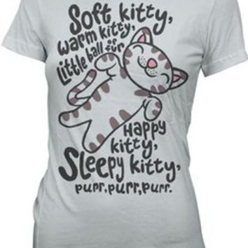 Big Bang Theory - Soft Kitty Jr. T-Shirt Small Ripple Junction : Booksamillion.com