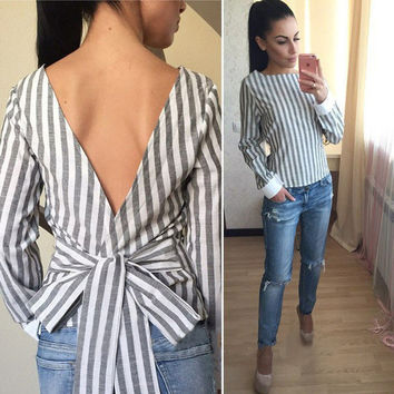2016 New Fashion Striped Bow Women Shirts O Neck Full Sleeves V Back Sexy Women Blouse Women Tops
