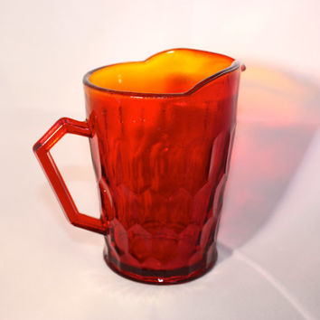Depression glass red, amber, little creamer pitcher. Vintage glass