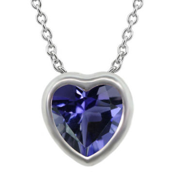 Heart Shape Blue Iolite 925 Sterling Silver Pendant With Chain